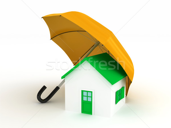 Home paraplu 3d render familie huis venster Stockfoto © blotty