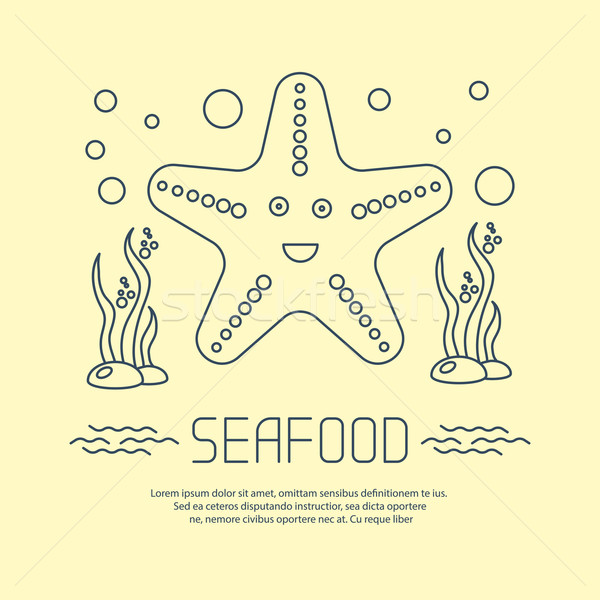 Seafood icon with starfish and seaweed Stock photo © blotty
