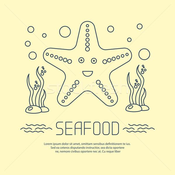 Owoce morza ikona Rozgwiazda wodorost wektora plaży Zdjęcia stock © blotty