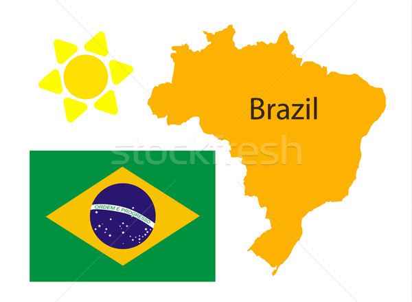 Brazil map and flag over white Stock photo © blotty