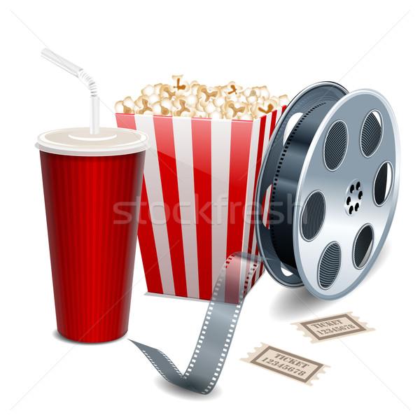 Filme pipoca rolo de filme bebidas vetor Foto stock © blotty