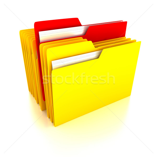 Dossiers blanche rendu 3d affaires ordinateur papier Photo stock © blotty