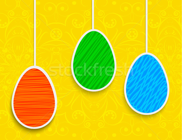 Easter background with hanging on the ropes eggs Stock photo © blotty