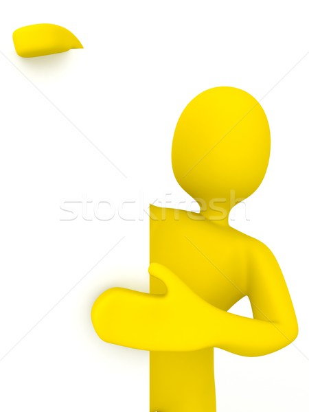 3d person with blank poster Stock photo © blotty