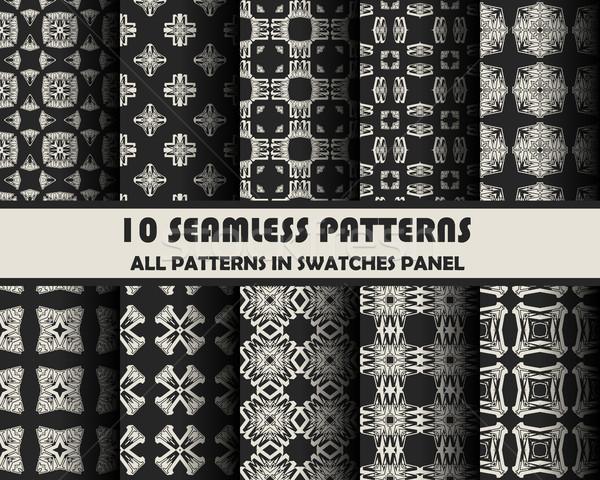 ストックフォト: ベクトル · セット · 幾何学的な · パターン · デザイン · eps
