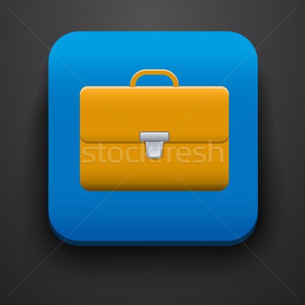 Portefeuille symbool icon Blauw computer wereldbol Stockfoto © blotty