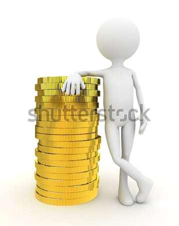 3 ª persona monedas de oro blanco ordenador generado hombre Foto stock © blotty