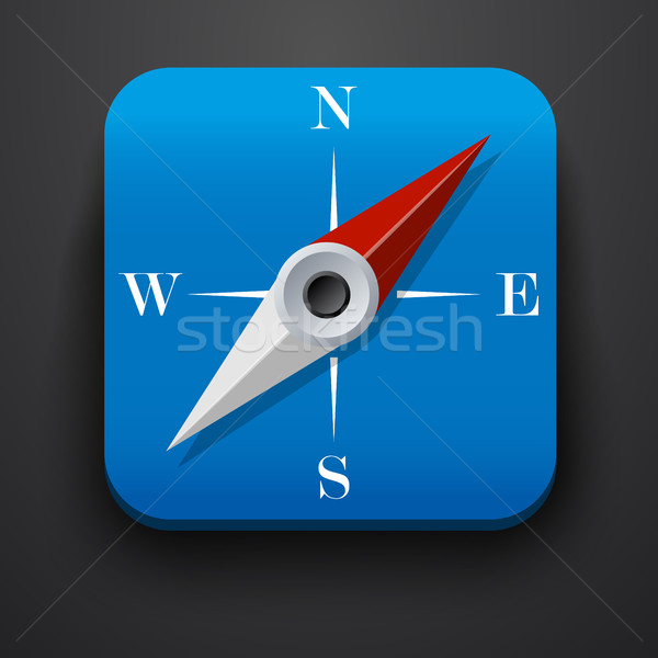 Compass, travel symbol icon on blue Stock photo © blotty