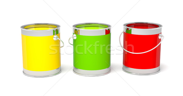 Stock photo: Colorful paint cans on white