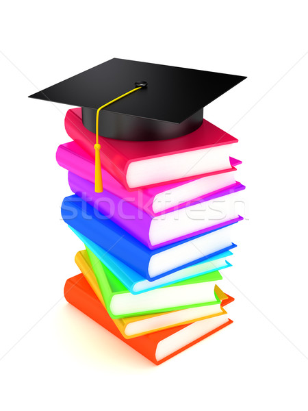 Graduation cap on books Stock photo © blotty