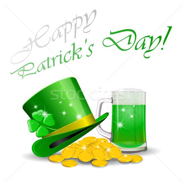 聖パトリックの日 緑 ビール デザイン 葉 にログイン ストックフォト © blotty