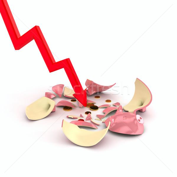 Crushed piggy bank over white Stock photo © blotty