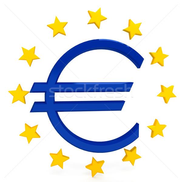 Foto stock: Euros · signo · blanco · ordenador · generado · imagen