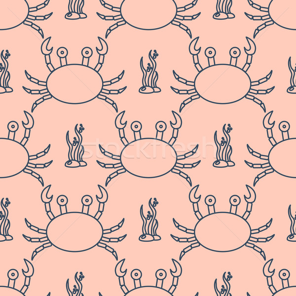 Seamless pattern with crabs and seaweed Stock photo © blotty