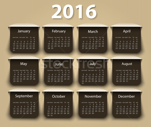 Calendar 2016 year vector design template. Stock photo © blotty