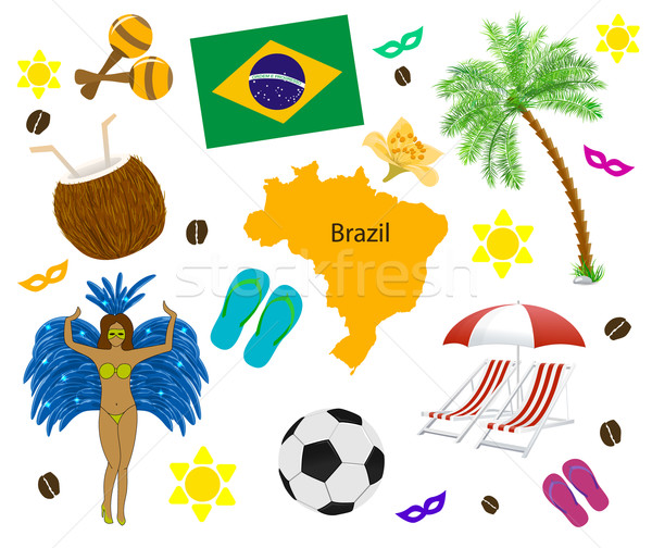Бразилия символ карта флаг белый цветок Сток-фото © blotty
