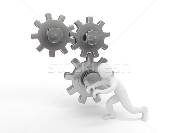 歯車 白 3dのレンダリング 建設 作業 抽象的な ストックフォト © blotty