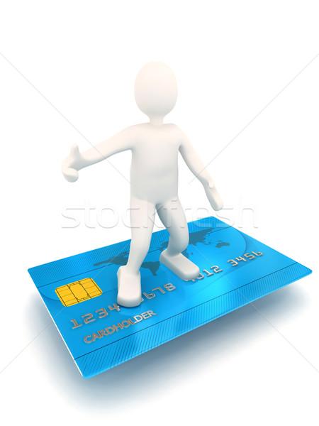 Pessoa 3d cartão de crédito prestados imagem ouro branco Foto stock © blotty