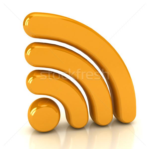 Wireless network sign over white Stock photo © blotty