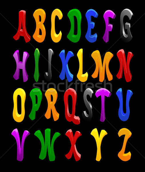 Stock fotó: Rajz · vektor · betűtípus · tele · ábécé · terv