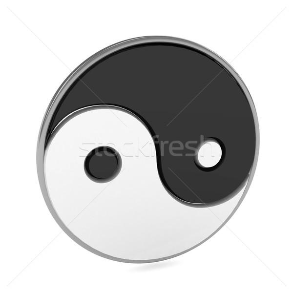 Yin Yang symbol over white background Stock photo © blotty