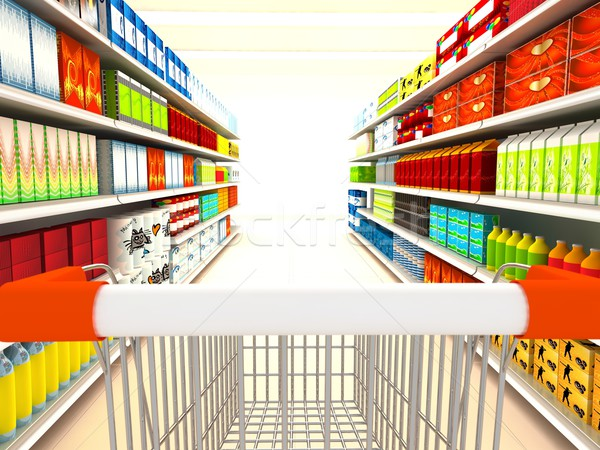 Supermarkt 3D gerendert Bild Laden Kunden Stock foto © blotty