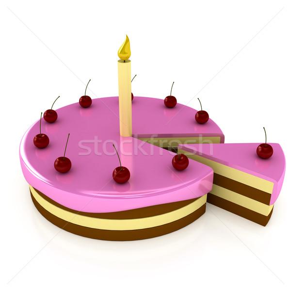 Gâteau d'anniversaire bougie blanche rendu 3d alimentaire mariage Photo stock © blotty