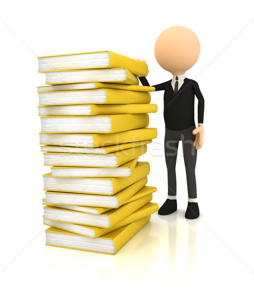 3 ª persona libros blanco ordenador generado imagen Foto stock © blotty