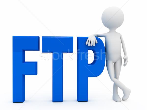3d persoon brieven ftp witte computer gegenereerde Stockfoto © blotty