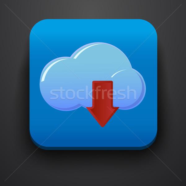 Téléchargement symbole icône bleu ordinateur bureau Photo stock © blotty
