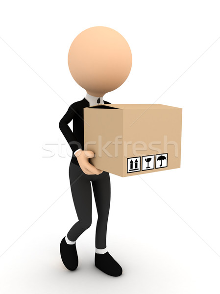 3d person with carton package Stock photo © blotty