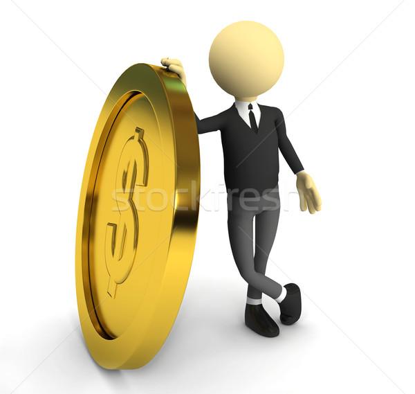 3d persoon gouden munt 3D gerenderd afbeelding ontwerp Stockfoto © blotty