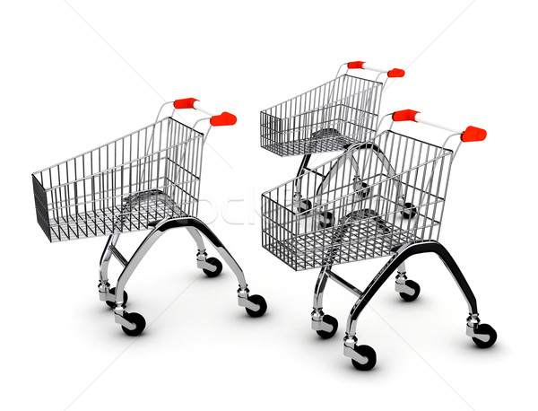Shoping carts over white Stock photo © blotty