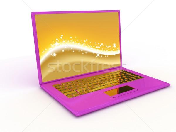 Foto stock: Portátil · caderno · branco · 3d · render · tecnologia · teclado