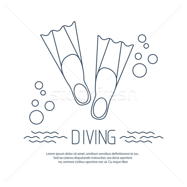 Diving icon with flippers and bubbles Stock photo © blotty