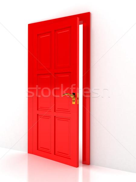 Red door over white background Stock photo © blotty