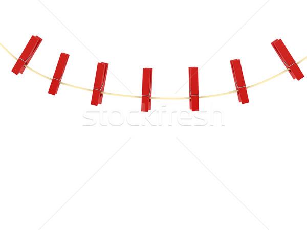 Prendedor de roupa branco 3d render negócio projeto quadro Foto stock © blotty