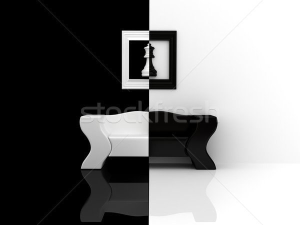 Black-white sofa Stock photo © blotty