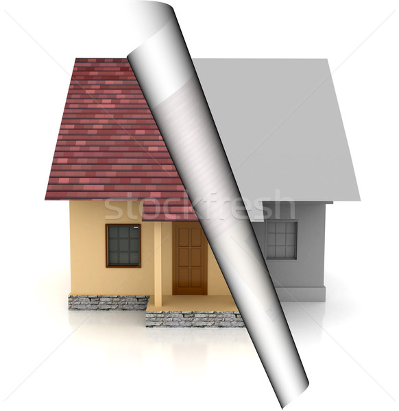 house on sale over white backgound Stock photo © blotty