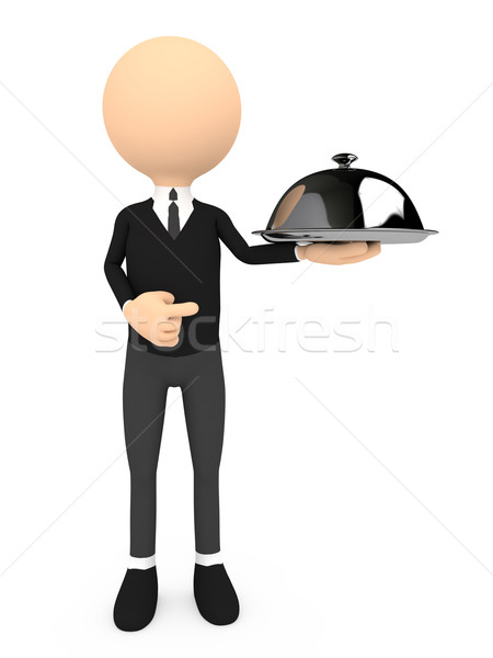 Chef with a cloche, on white Stock photo © blotty