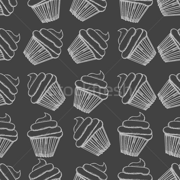 Hand drawn seamless muffins background. Vector Stock photo © blotty