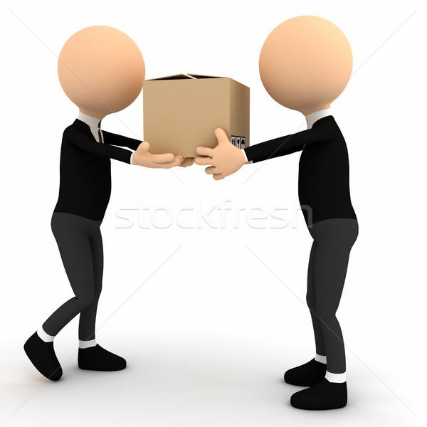 3 ª persona cartón paquete ordenador generado imagen Foto stock © blotty