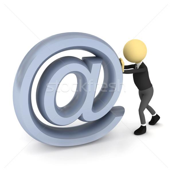 3d persoon e-mail teken witte 3d render papier Stockfoto © blotty