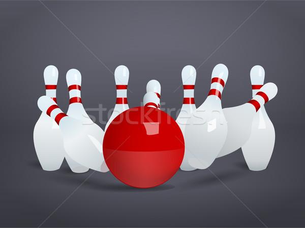 Bowling ball crashing into the pins Stock photo © blotty
