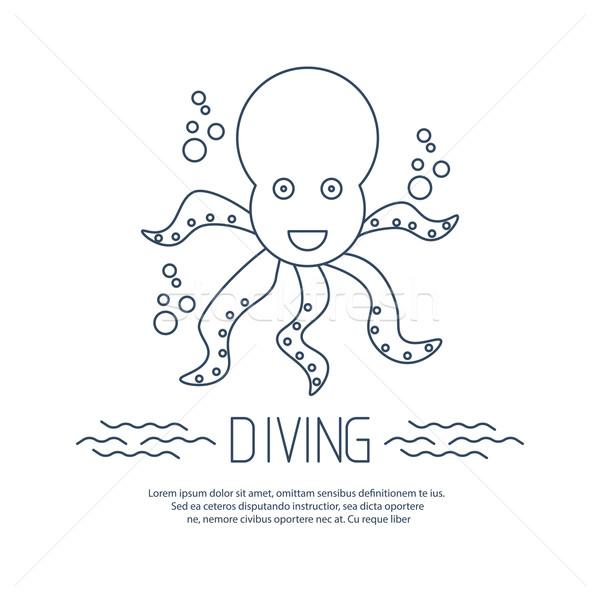 дайвинг икона осьминога пузырьки вектора пляж Сток-фото © blotty