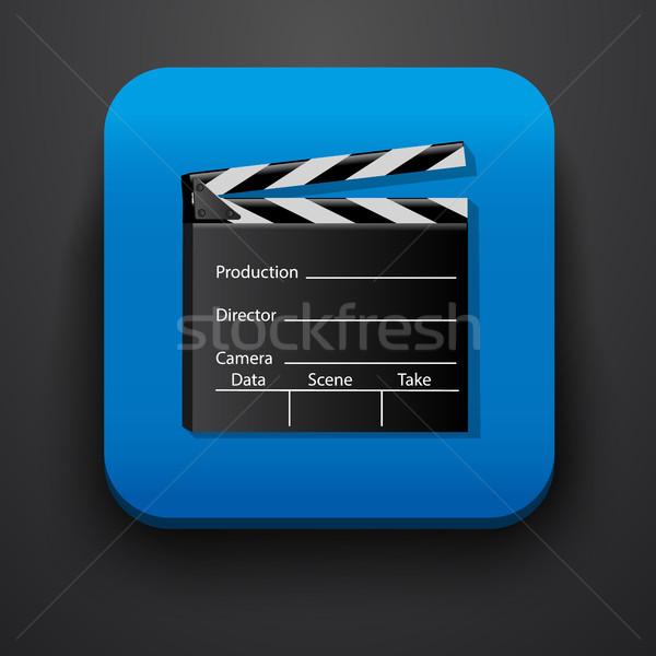 СМИ фильма символ икона синий вектора Сток-фото © blotty