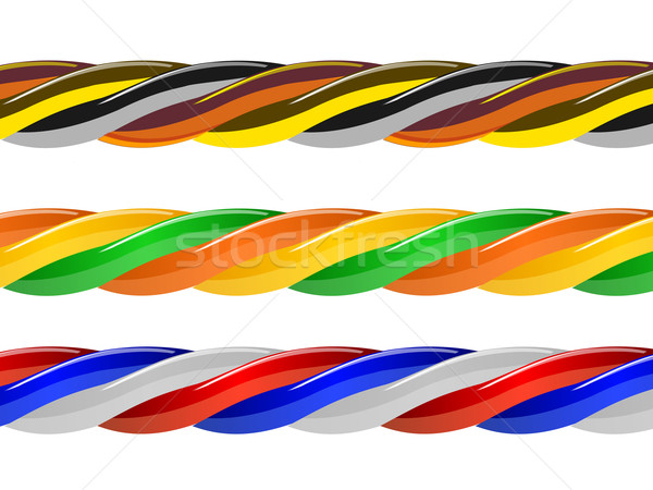Wielobarwny kabel komputerowy odizolowany biały działalności tekstury Zdjęcia stock © blotty