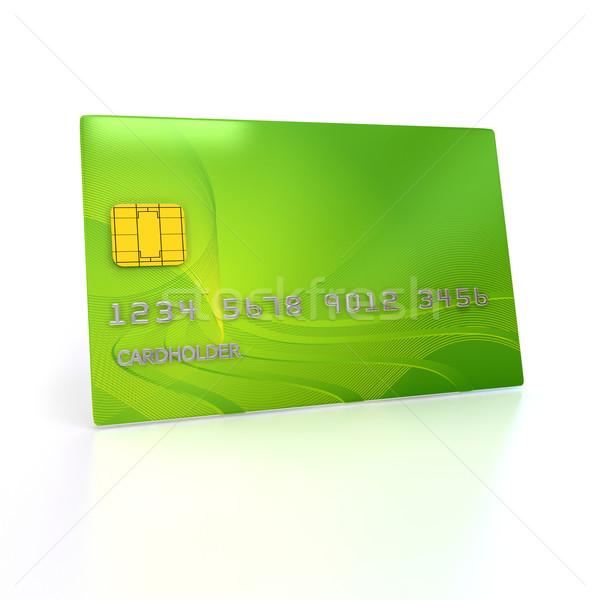 Stock fotó: Hitelkártya · fehér · renderelt · kép · arany · műanyag