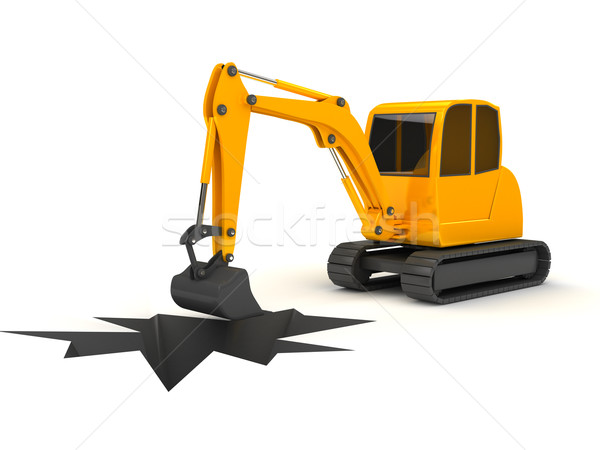 3d orange digger working on white background Stock photo © blotty