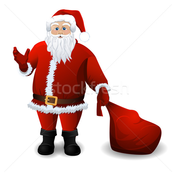 Santa Claus with red sack over white Stock photo © blotty